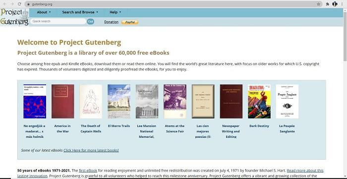 project gutenberg- find free books online