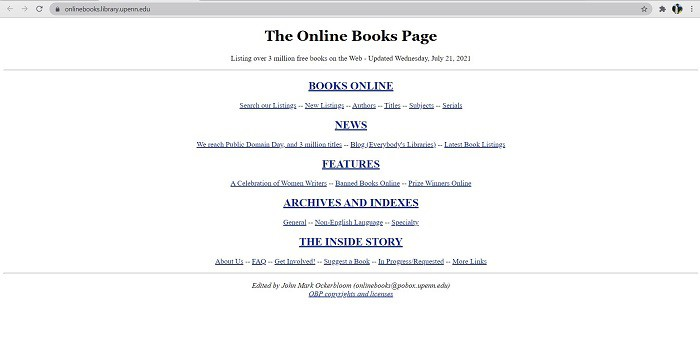 the online books page- find free books online
